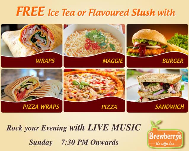 Get Free Ice Tea or Flavored Slush - Brewberrys Coffee & Snacks Bar